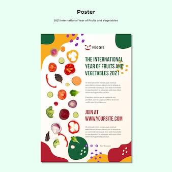 Cartel del año internacional de frutas y verduras.