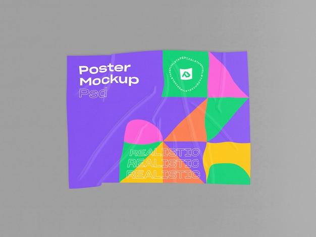 Cartel arrugado con maqueta de efecto pegado