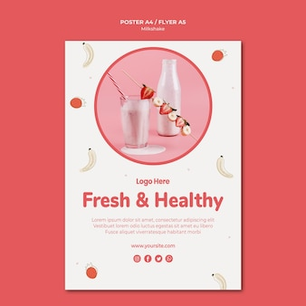 Cartel para batido de fresa