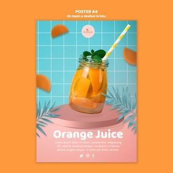 Cartel de bebidas de profundidad y realismo 3d