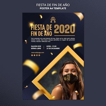 Cartel de celebración fiesta de fin de ano 2020
