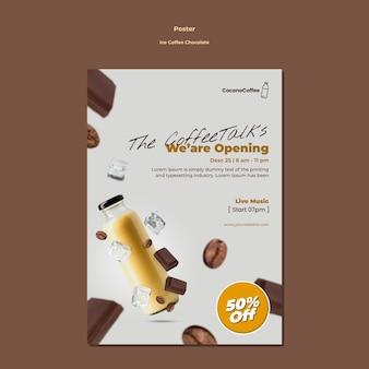 Cartel de chocolate con café helado