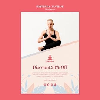 Cartel de clases de meditación con foto de mujer haciendo ejercicio