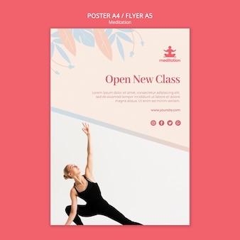 Cartel de clases de meditación con foto