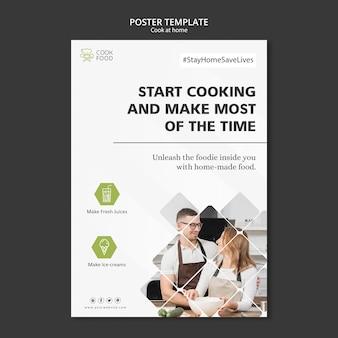 Cartel con cocina en casa plantilla