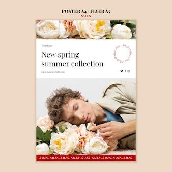 Cartel de la colección de moda primavera verano y plantilla de diseño de volante