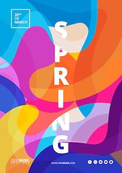 Cartel colorido abstracto de festival de primavera