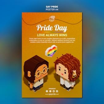 Cartel colorido de la plantilla del orgullo gay