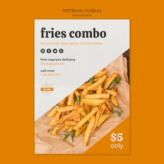 Cartel combinado de comida rápida y papas fritas estadounidense