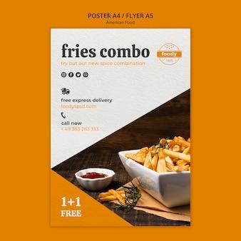 Cartel de comida rápida combinada de papas fritas
