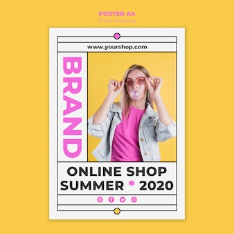 Cartel de compras en línea de verano