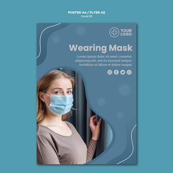 Cartel de concepto de coronavirus con máscara
