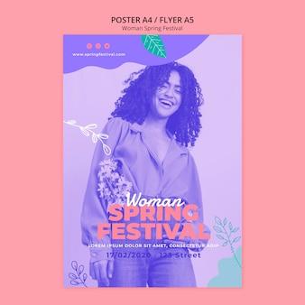 Cartel con concepto de festival de primavera de mujer