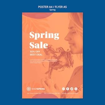 Cartel de descuento de venta de primavera