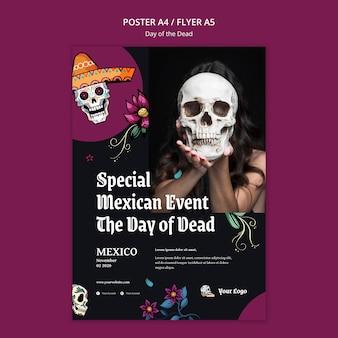 Cartel día de la plantilla de muertos