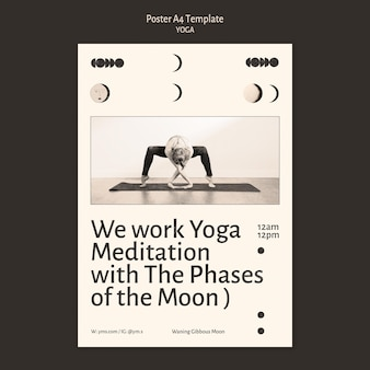 Cartel de diseño incoloro de práctica de yoga.