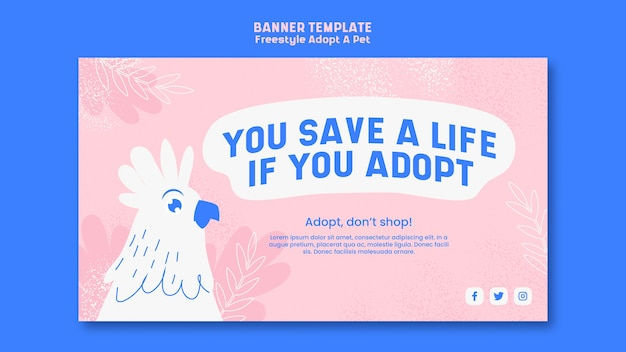Cartel con diseño de mascota adoptiva
