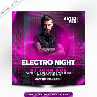 Cartel de electro night party premium