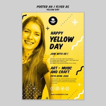 Cartel con estilo de día amarillo