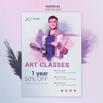 Cartel de estudio de arte de clases en línea de pintura