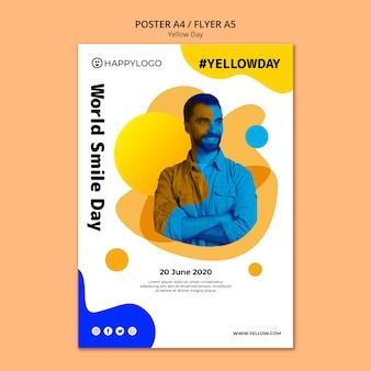 Cartel de feliz día amarillo de sonrisa mundial