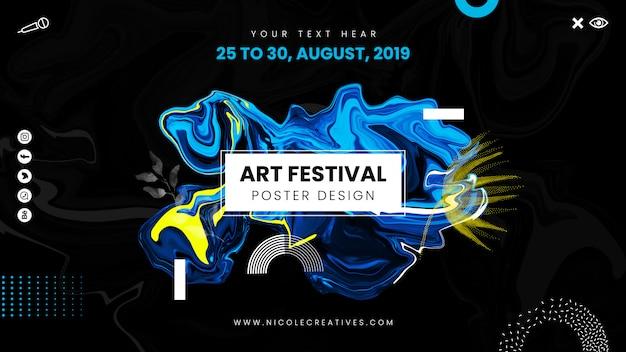 Cartel del festival de arte con diseño abstracto líquido.