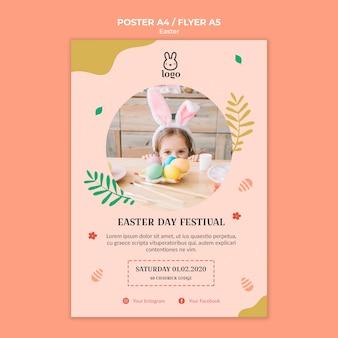 Cartel del festival del día de pascua con foto