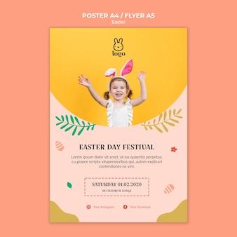 Cartel del festival del día de pascua