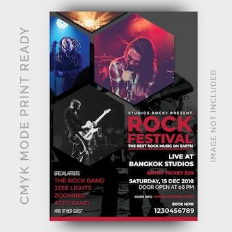 Cartel del festival de música. plantilla de diseño de flyer