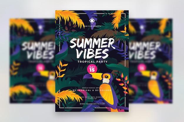 Cartel del festival de música tropical de verano