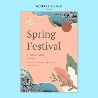 Cartel del festival de primavera con hojas y flores.