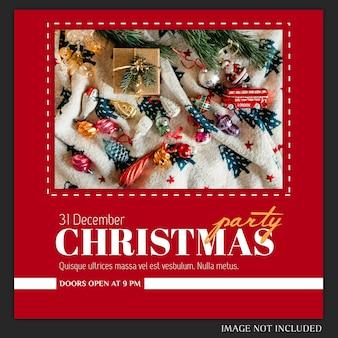 Cartel de fiesta de año nuevo o navidad o plantilla de invitación