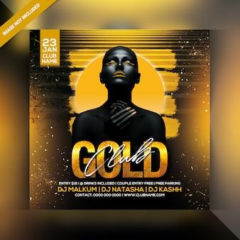 Cartel de la fiesta del club de oro