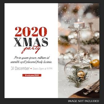 Cartel de fiesta de navidad de año nuevo 2020 o plantilla de invitación