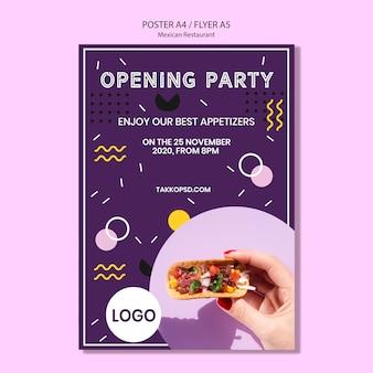 Cartel de fiesta restaurante mexicano