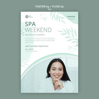 Cartel de fin de semana de spa de mujer hermosa