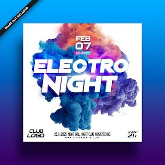 Cartel del folleto del electro night music festival