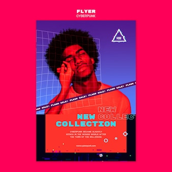 Cartel futurista cyberpunk con foto
