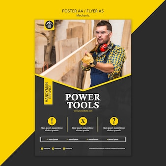 Cartel de herramientas eléctricas de trabajador manual de carpintero