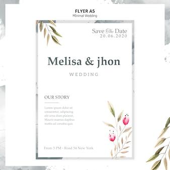 Cartel de invitación de boda elegante