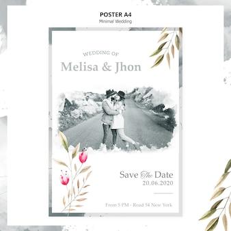 Cartel de invitación de boda hermosa