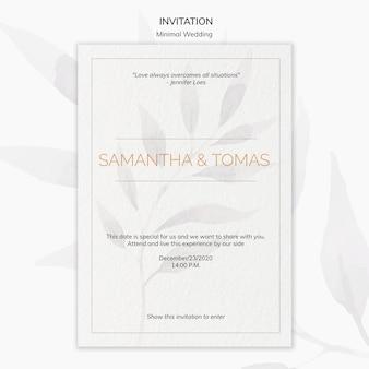 Cartel de invitación de boda mínima