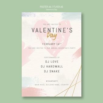 Cartel de invitación de fiesta de san valentín