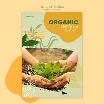 Cartel de jardinería orgánica con foto