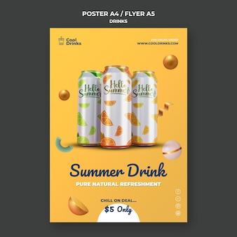 Cartel de latas de refresco puro de bebidas de verano.