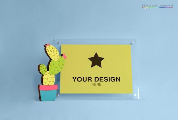 Cartel de maqueta con cactus de dibujos animados
