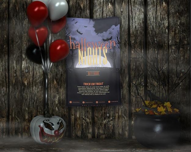 Cartel con maquetas de noche de halloween y globos