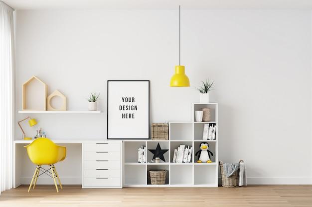 Cartel marco maqueta interior dormitorio de niños con decoraciones