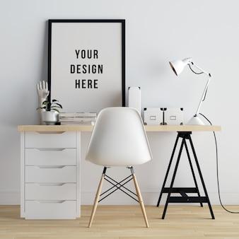 Cartel marco maqueta interior espacio de trabajo con decoraciones