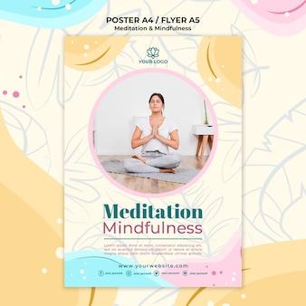 Cartel de meditación y mindfulness